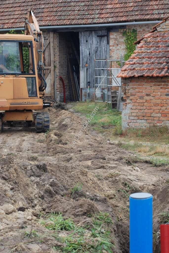 A view from the borehole towards the barn