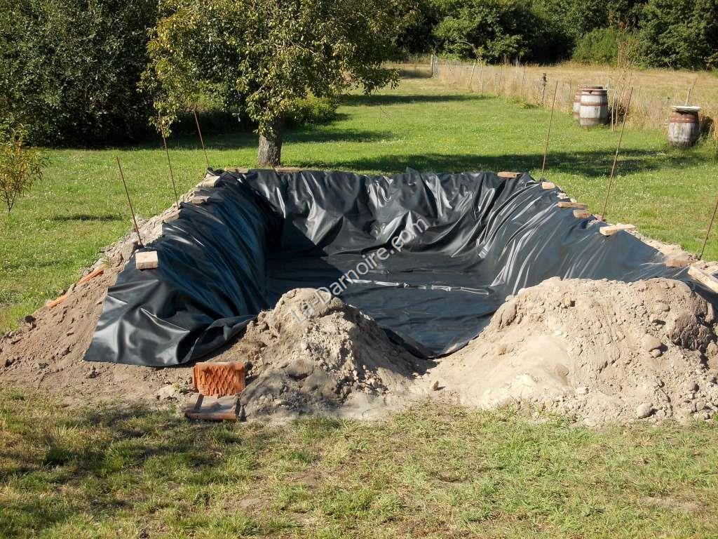The pond liner is installed