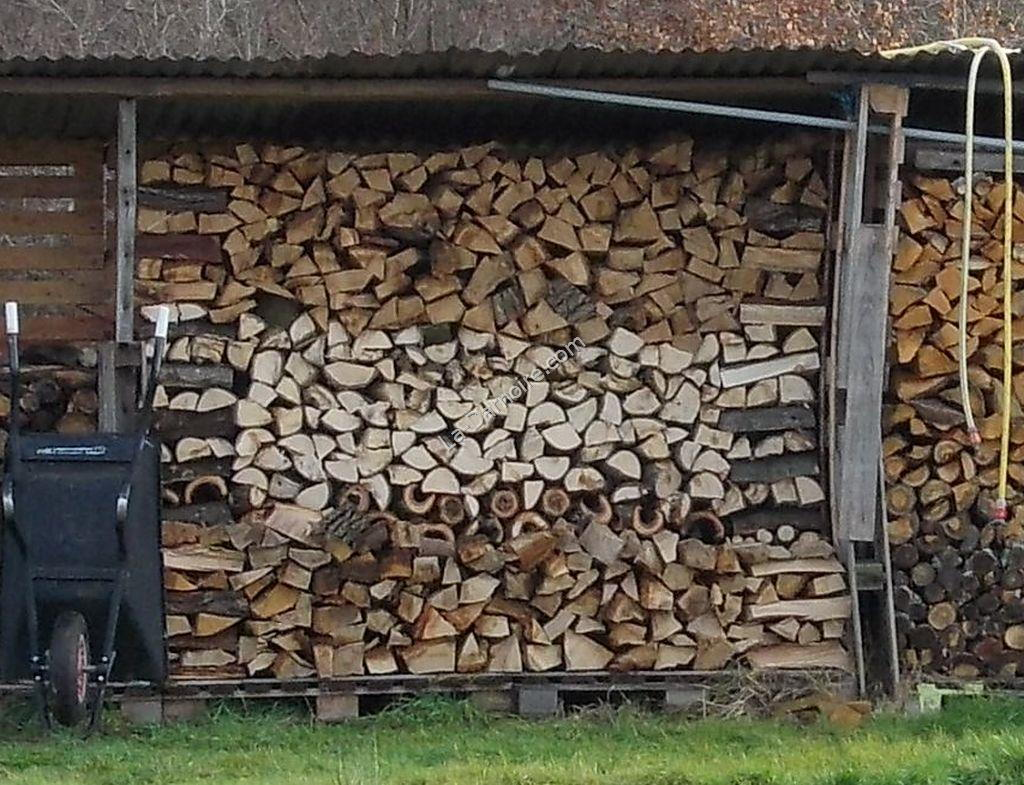 Closeup view of new method of stacking firewood